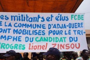 Banderole de soutien à Lionel Zinsou à Adja-Ouere
