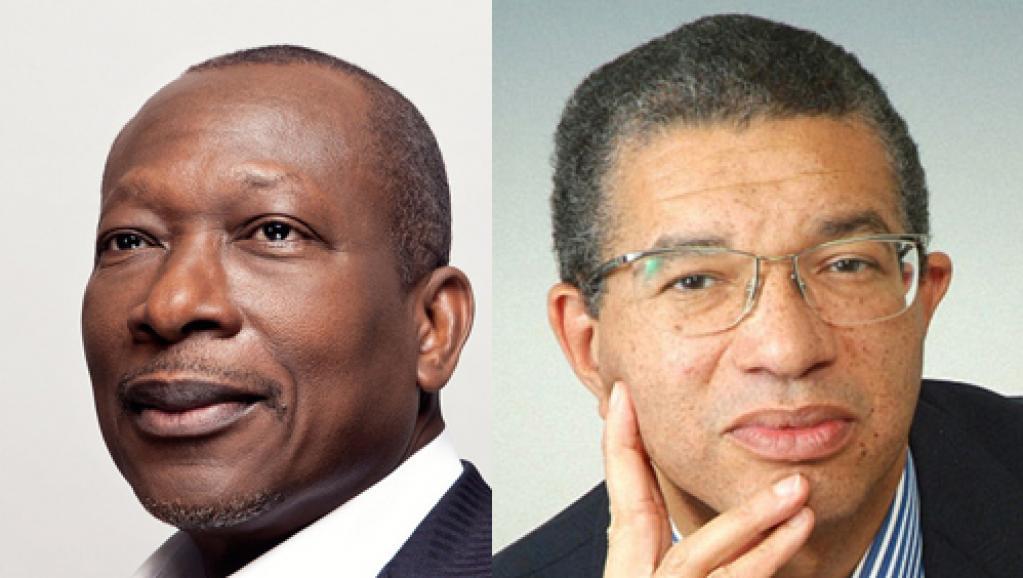Source: Patrice Talon (G) et Lionel Zinsou (D) sont arrivés en tête au 1er tour de l'élection présidentielle au Bénin, le 6 mars 2016. © RFI/Montage