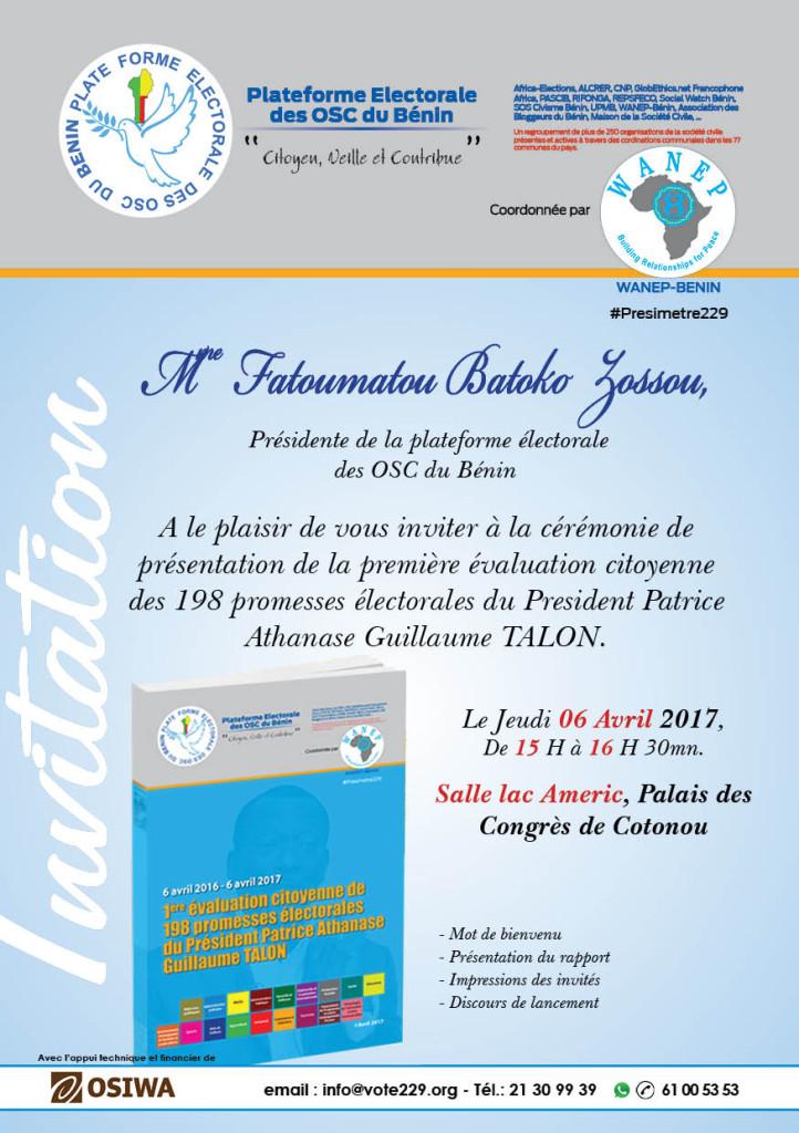 Premier rapport de l'évaluation citoyenne des promesses de Patrice Talon
